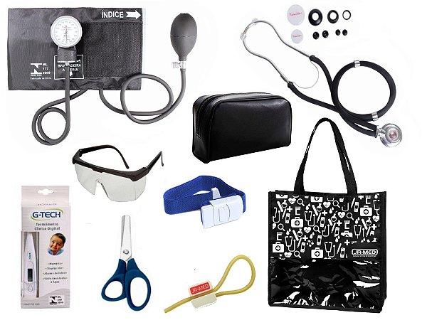 Novo Kit Enfermagem: Aparelho De Pressão com Estetoscópio Rappaport Premium Completo – Preto