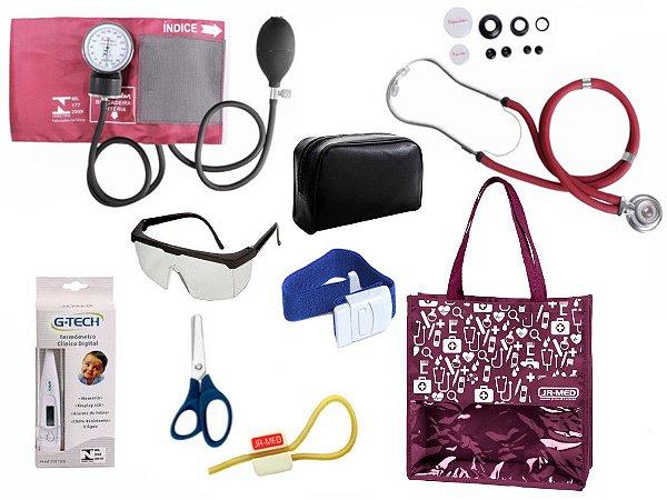 Novo Kit Enfermagem: Aparelho De Pressão com Estetoscópio Rappaport Premium Completo – Vinho