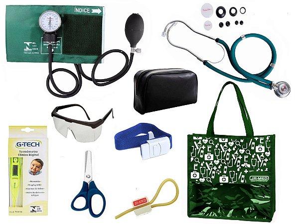 Novo Kit Enfermagem: Aparelho De Pressão com Estetoscópio Rappaport Premium Completo – Verde