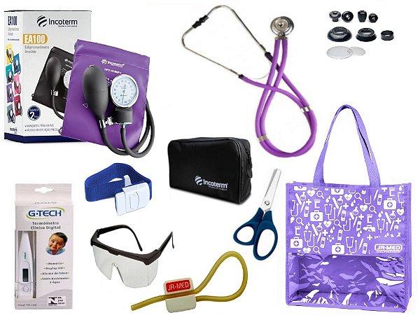 Novo Kit Enfermagem:  Aparelho De Pressão com Estetoscópio Rappaport Incoterm Completo - Lilás