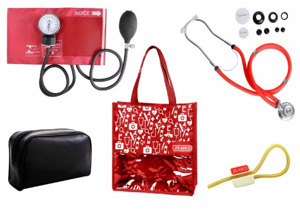 Novo Kit Enfermagem: Aparelho de Pressão com Estetoscópio Rappaport Premium Vermelho + Bolsa JRMED