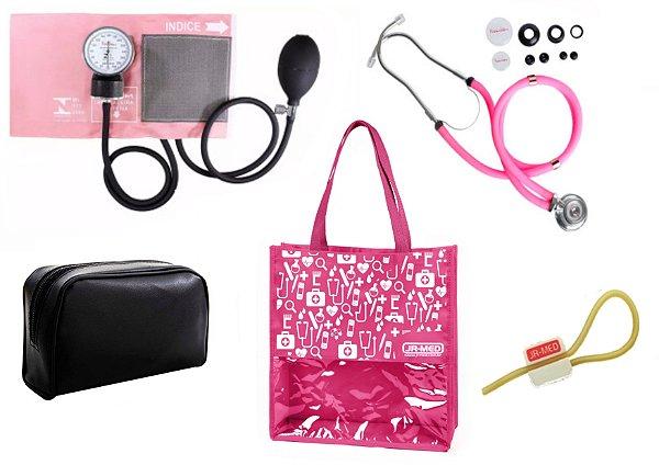 Novo Kit Enfermagem:  Aparelho de Pressão com Estetoscópio Rappaport Premium Rosa + Bolsa JRMED