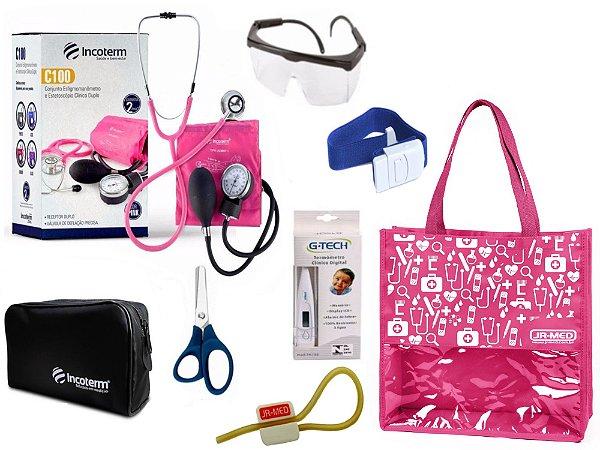 Novo Kit Enfermagem: Aparelho De Pressão com Estetoscópio Duplo Incoterm Completo - Pink