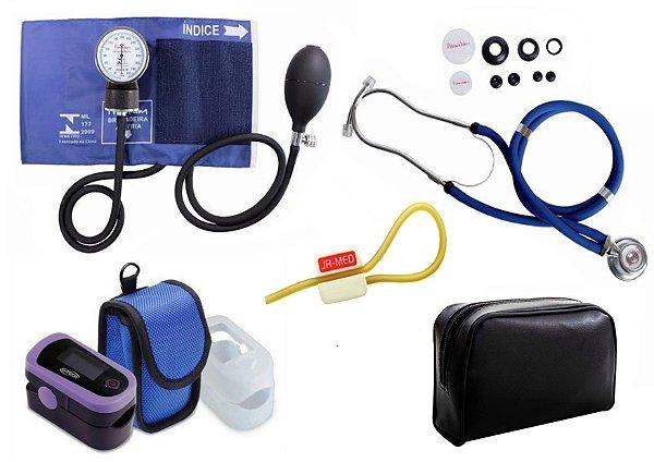 Kit Enfermagem: Aparelho de Pressão com Estetoscópio Rappaport Azul Premium + Oxímetro de pulso - G-Tech - Oled Graph
