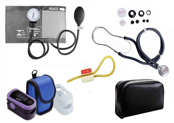 Kit Enfermagem: Aparelho de Pressão com Estetoscópio Rappaport Grafite Premium + Oxímetro de pulso - G-Tech - Oled Graph