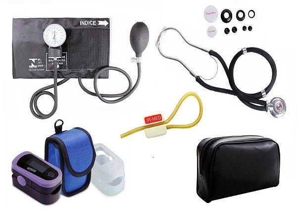 Kit Enfermagem: Aparelho de Pressão com Estetoscópio Rappaport Preto Premium + Oxímetro de pulso - G-Tech - Oled Graph
