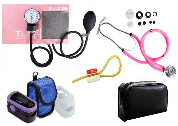 Kit Enfermagem: Aparelho de Pressão com Estetoscópio Rappaport Rosa Premium + Oxímetro de pulso - G-Tech - Oled Graph