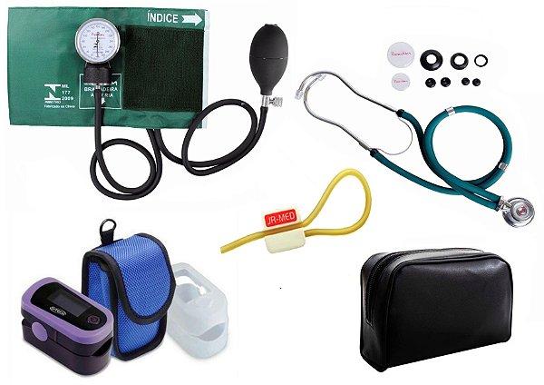 Kit Enfermagem: Aparelho de Pressão com Estetoscópio Rappaport Verde Premium + Oxímetro de pulso - G-Tech - Oled Graph