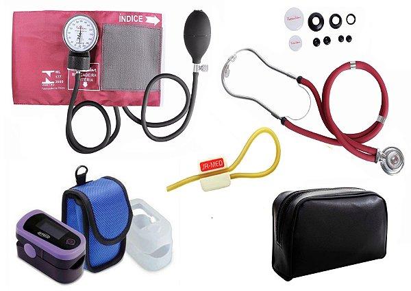 Kit Enfermagem: Aparelho de Pressão com Estetoscópio Rappaport Vinho Premium + Oxímetro de pulso - G-Tech - Oled Graph