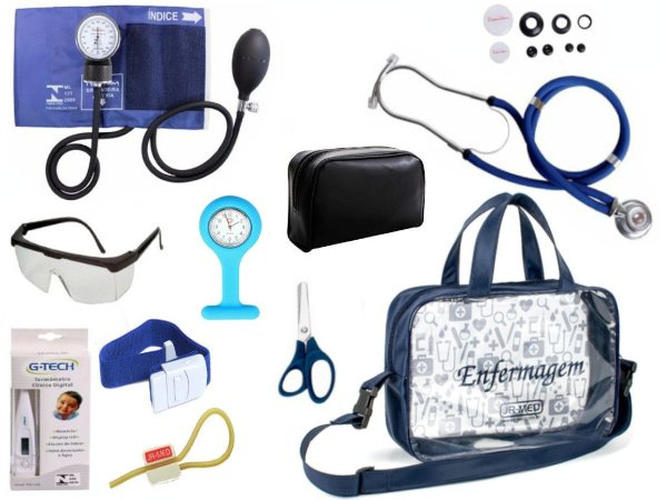 Kit Enfermagem Aparelho De Pressão com Estetoscópio Rappaport Premium Completo - Azul + Bolsa Transparente JRMED + Relógio Lapela