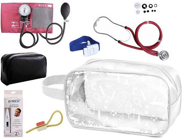 Kit Enfermagem Aparelho Pressão com Estetoscópio Rappaport Duplo Premium + Termômetro + Necessaire Transparente
