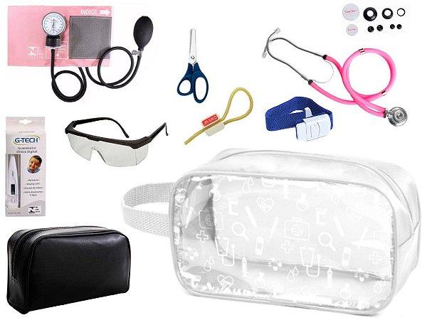 Kit Enfermagem Aparelho Pressão com Estetoscópio Rappaport Premium Completo + Necessaire Transparente
