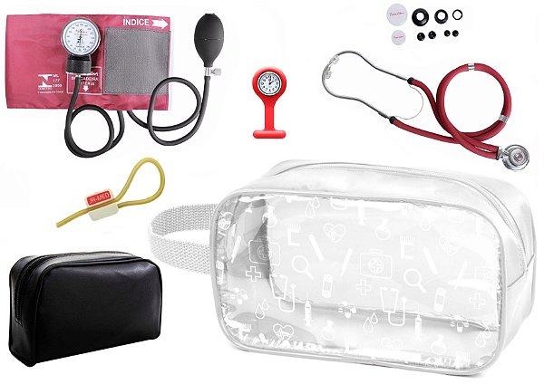 Kit Enfermagem Aparelho Pressão com Estetoscópio Rappaport Premium + Relógio + Necessaire Transparente