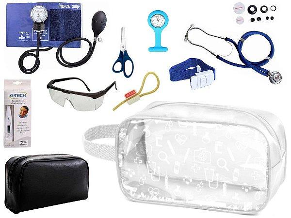 Kit Enfermagem Aparelho de Pressão com Estetoscópio Rappaport Premium Completo + Relógio + Necessaire Transparente