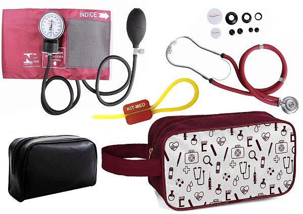 Kit Enfermagem de Aparelho Pressão com Estetoscópio Rappaport  Premium + Necessaire