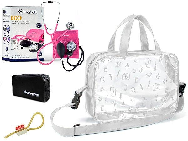 Kit Aparelho de Pressão com Estetoscópio Clinico Duplo Incoterm + Bolsa Transparente + Garrote JRMED