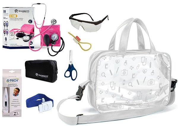 Kit Enfermagem Aparelho De Pressão com Estetoscópio Clinico Duplo Incoterm  + Bolsa Transparente
