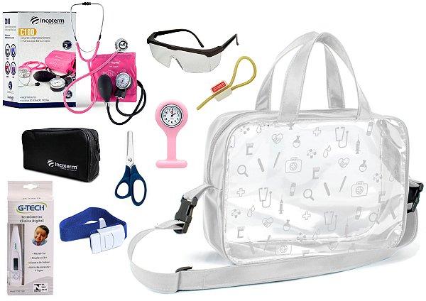 Kit Enfermagem Aparelho De Pressão com Estetoscópio Clinico Duplo Incoterm Completo + Bolsa Transparente + Relógio