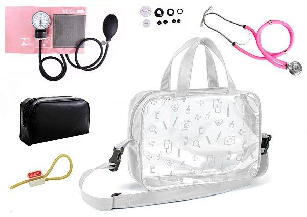 Kit Aparelho de Pressão com Estetoscópio Rappaport Duplo Premium + Bolsa Transparente + Garrote Exclusivo JRMED