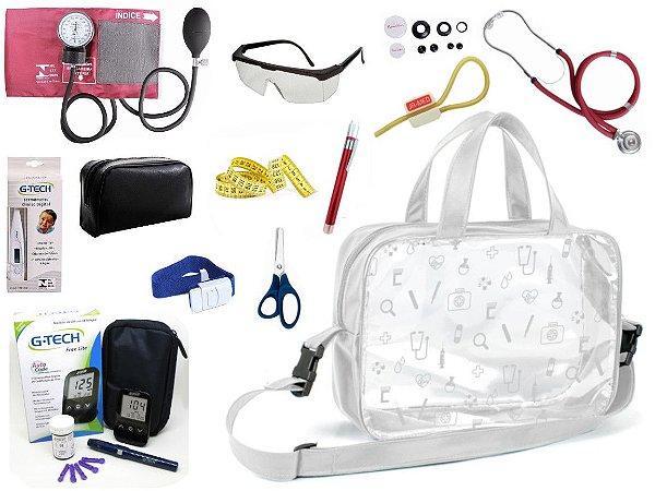 Kit Enfermagem Aparelho Pressão com Estetoscópio Rappaport Premium Completo + Bolsa Transparente + Medidor de Glicose - G-Tech