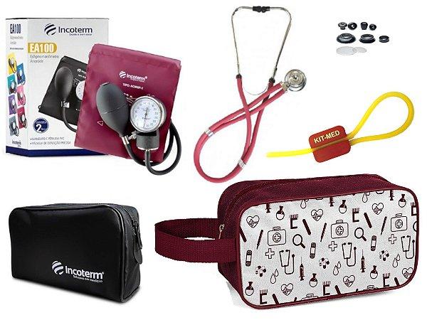 Kit Enfermagem de Aparelho Pressão com Estetoscópio Rappaport  Incoterm + Necessaire