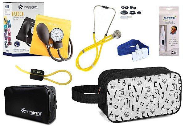 Kit Enfermagem Aparelho Pressão com Estetoscópio Rappaport Incoterm + Termômetro + Necessaire
