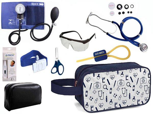 Kit Enfermagem Aparelho Pressão com Estetoscópio Rappaport Duplo Premium Completo + Necessaire