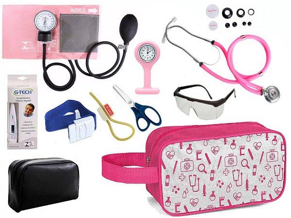 Kit Enfermagem Aparelho de Pressão com Estetoscópio Rappaport Duplo Premium Completo + Relógio + Necessaire
