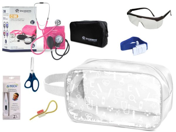 Kit Enfermagem Aparelho Pressão com Estetoscópio Clinico Duplo Completo + Necessaire Transparente