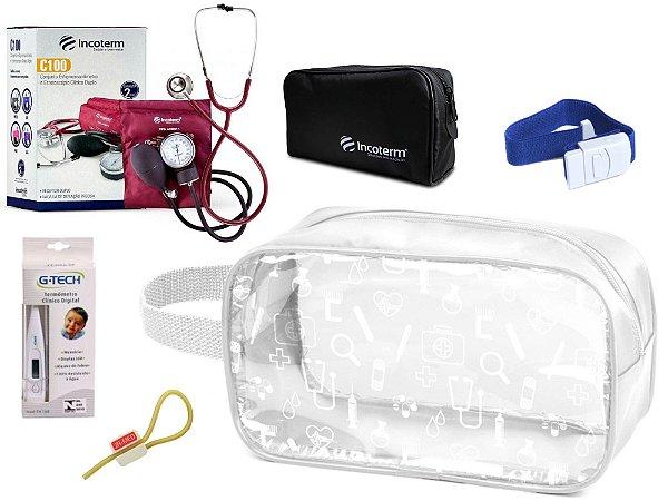 Kit Enfermagem Aparelho Pressão com Estetoscópio Clinico Duplo Incoterm + Termômetro + Necessaire Transparente