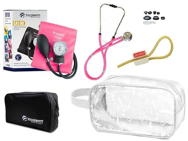 Kit Enfermagem de Aparelho Pressão com Estetoscópio Rappaport Incoterm + Necessaire Transparente