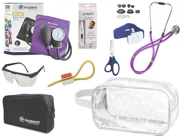 Kit Enfermagem Aparelho Pressão com Estetoscópio Rappaport Incoterm Completo + Necessaire Transparente