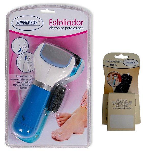Esfoliador Eletrônico para os pés com lixa  - Supermedy - Acompanha 03 lixas extras