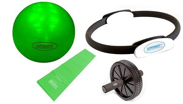 Kit Yoga, Pilates, Ginastica para Treino em Casa -  Verde - Supermedy