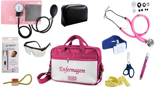Kit Enfermagem Aparelho De Pressão com Estetoscópio Rappaport Premium Completo  + Lanterna + Bolsa JRMED