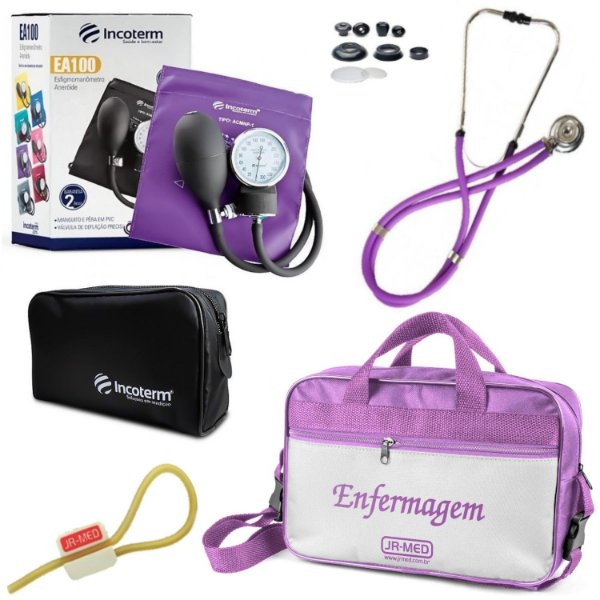 Kit Enfermagem Aparelho Pressão com Estetoscópio Rappaport  Incoterm + Bolsa JRMED + Garrote Exclusivo JRMED