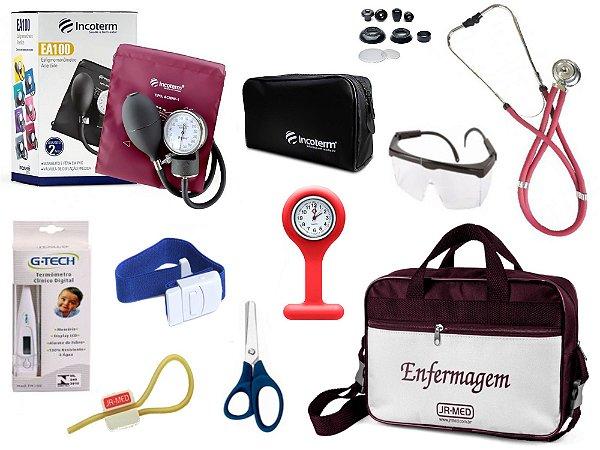 Kit Enfermagem Aparelho De Pressão com Estetoscópio Rappaport Incoterm Completo + Bolsa JRMED + Relógio Lapela