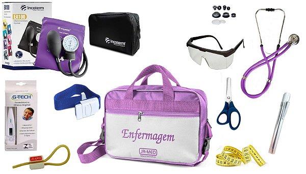 Kit Enfermagem Aparelho De Pressão com Estetoscópio Rappaport Incoterm Completo + Bolsa JRMED
