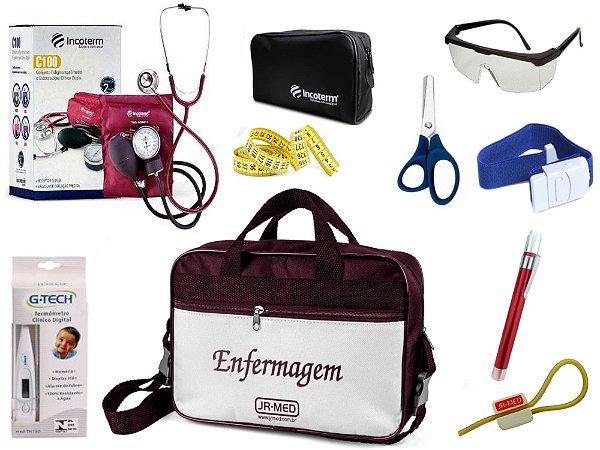 Kit Enfermagem Aparelho De Pressão com Estetoscópio Clinico Duplo Incoterm Completo + Lanterna + Bolsa JRMED