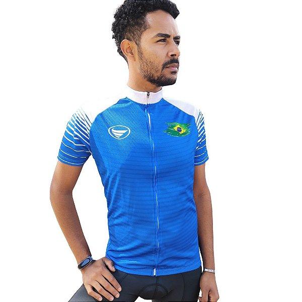 Camisa Ciclotour Masculina Vezzo Brasil Azul - PROMOÇÃO