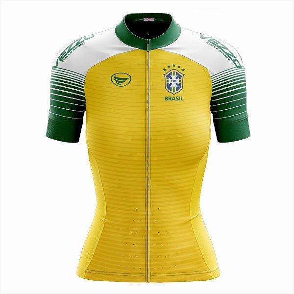 45cebde320 Camisa Feminina Ciclismo e MTB Vezzo Brasil 2018 Amarela