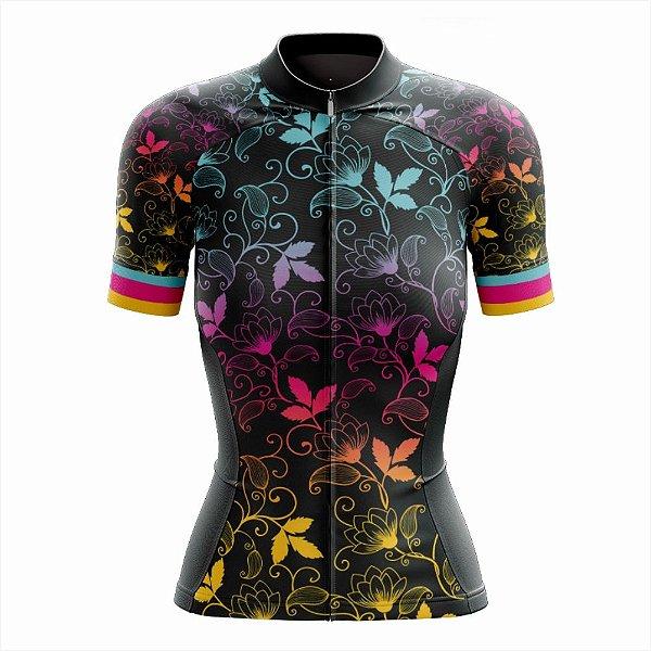 Camisa Feminina Ciclismo e MTB Vezzo Leaf Color