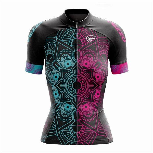 Camisa Feminina Ciclismo e MTB Vezzo Mandala Color