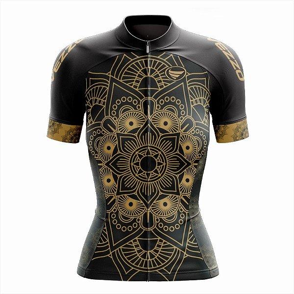 Camisa Feminina Ciclismo e MTB Vezzo Mandala Gold