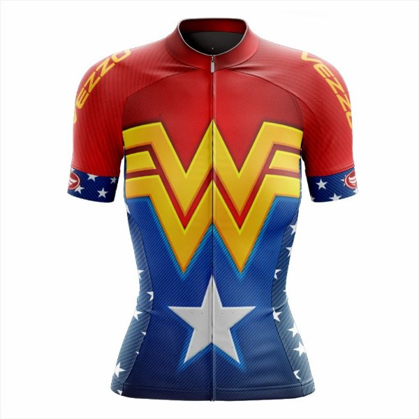 Camisa Feminina Ciclismo e MTB Vezzo Mulher Maravilha