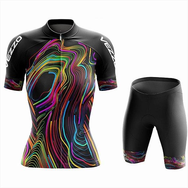 Conjunto Feminino Ciclismo e MTB Vezzo Color Lines Black