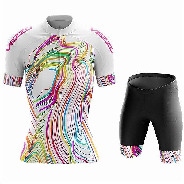 Conjunto Feminino Ciclismo e MTB Vezzo Color Lines White