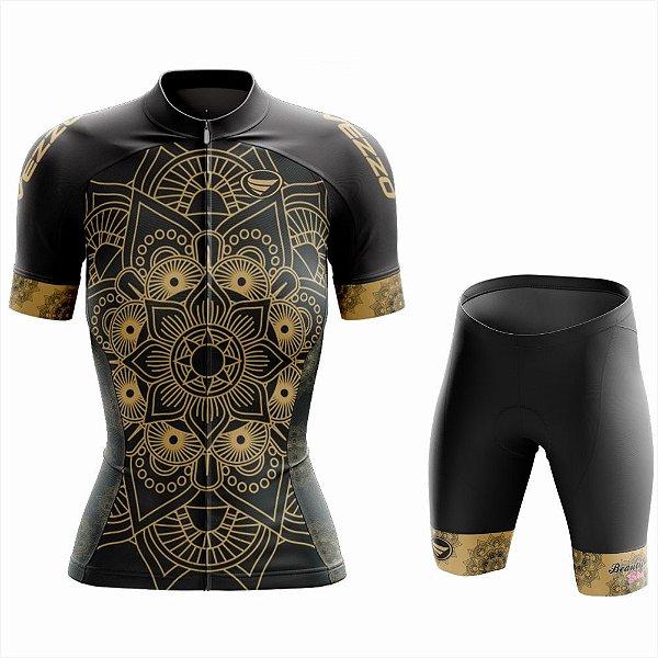 Conjunto Feminino Ciclismo e MTB Vezzo Mandala Gold