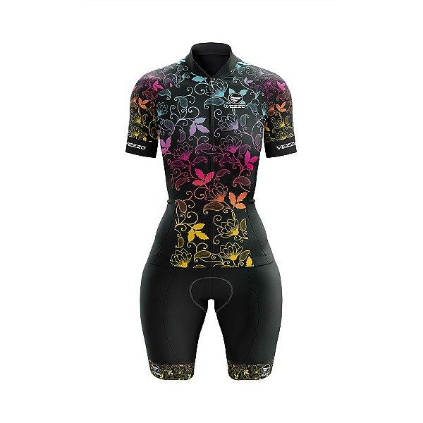 Macaquinho Feminino Ciclismo e MTB Vezzo Leaf Color
