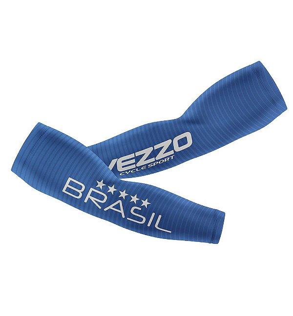 Manguito Feminino Ciclismo Vezzo Brasil Azul
